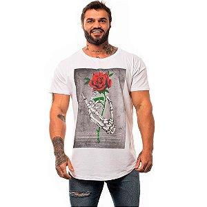 Camiseta Longline Masculina MXD Conceito Limitada Skull And Bone Roses Faith
