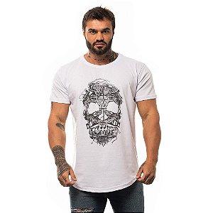 Camiseta Longline Masculina MXD Conceito Limitada Skull Sea Elements