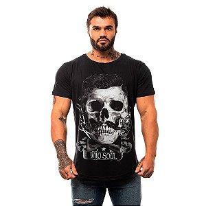 Camiseta Longline Masculina MXD Conceito Limitada Wild Soul Caveira