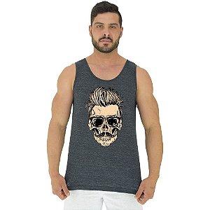 Regata Clássica Tradicional Masculina MXD Conceito Skull Caveira Cabelo Arrepiado