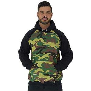 Blusa Moletom Masculino MXD Conceito Com Touca Camuflado Verde Detalhes Pretos