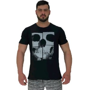 Camiseta Tradicional Masculina Manga Curta MXD Conceito Caveira Raio X Mosaico