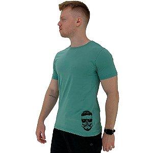Camiseta Tradicional Masculina MXD Conceito Estampa Lateral Caveira Topete e Bigode