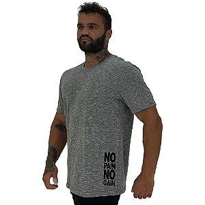 Camiseta Tradicional Masculina MXD Conceito Estampa Lateral No Pain No Gain Horizontal