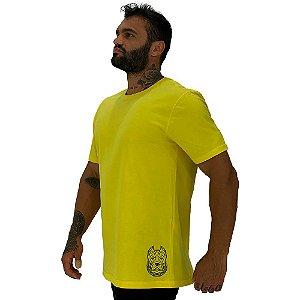 Camiseta Tradicional Masculina MXD Conceito Estampa Lateral Pitbull Corrente