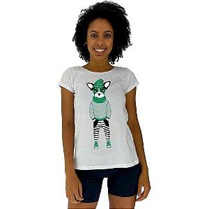 Camiseta Babylook Feminina MXD Conceito Cachorro Estiloso