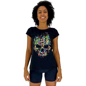 Camiseta Babylook Feminina MXD Conceito Caveira Abstrada