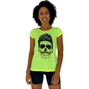 Camiseta Babylook Feminina MXD Conceito Caveira Sorridente