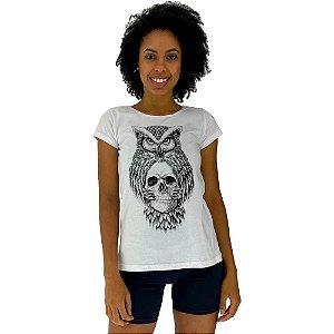 Camiseta Babylook Feminina MXD Conceito Coruja da Caveira Sabia