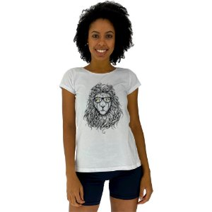 Camiseta Babylook Feminina MXD Conceito Leão Estiloso