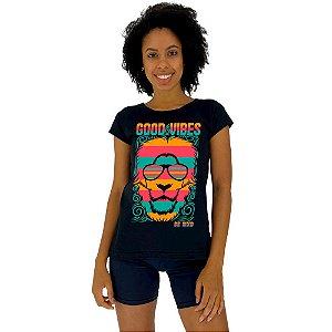 Camiseta Babylook Feminina MXD Conceito Leão Good Vibes