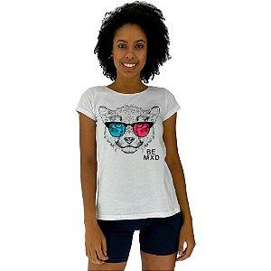 Camiseta Babylook Feminina MXD Conceito Leopardo de Óculos