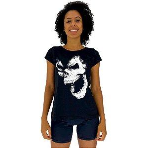 Camiseta Babylook Feminina MXD Conceito Monkey Skull Caveira Macaco