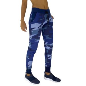 Calça Feminina Moletom MXD Conceito Camuflado Azul