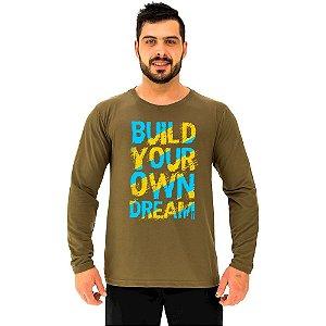 Camiseta Manga Longa Moletinho MXD Conceito Build Your Own Dream Seu Sonho