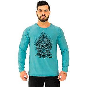 Camiseta Manga Longa Moletinho MXD Conceito Caveira Cacique
