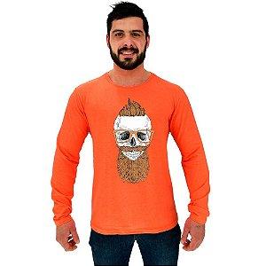 Camiseta Manga Longa Moletinho MXD Conceito Caveira De Moicano Skull