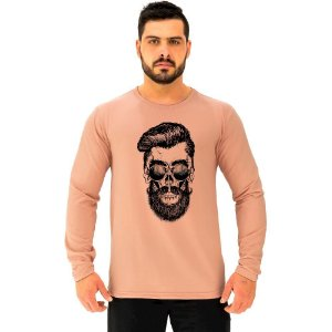 Camiseta Manga Longa Moletinho MXD Conceito Caveira Hipster Estilo Raro