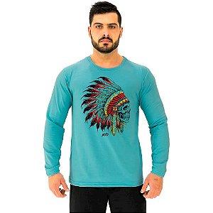 Camiseta Manga Longa Moletinho MXD Conceito Caveira Indígena