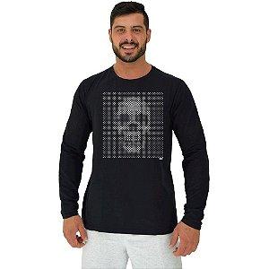 Camiseta Manga Longa Moletinho MXD Conceito Caveira Pontilhada Mosaico Moldura