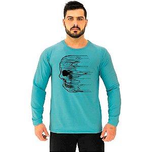 Camiseta Manga Longa Moletinho MXD Conceito Caveira Wind