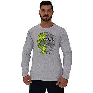 Camiseta Manga Longa Moletinho MXD Conceito Conceito Caveira Matagal Skull