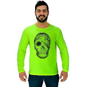 Camiseta Manga Longa Moletinho MXD Conceito Forest Skull Floresta
