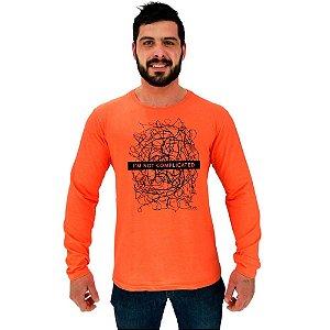 Camiseta Manga Longa Moletinho MXD Conceito I'm Not Complicated Complicado