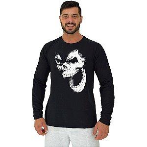Camiseta Manga Longa Moletinho MXD Conceito Monkey Skull Gorila Caveira
