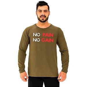 Camiseta Manga Longa Moletinho MXD Conceito No Pain No Gain Letreiro
