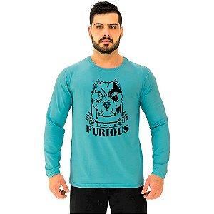 Camiseta Manga Longa Moletinho MXD Conceito Pitbull Furious Dog