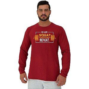 Camiseta Manga Longa Moletinho MXD Conceito Squat Repeat Agache Repita