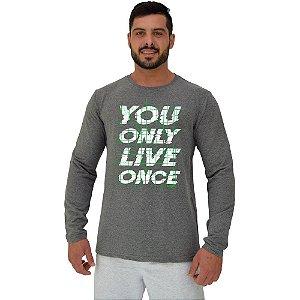 Camiseta Manga Longa Moletinho MXD Conceito You Only Live Once Você Vive Apenas Uma Vez