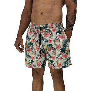 Shorts Praia Tactel Masculino MXD Conceito Flores Tropicais