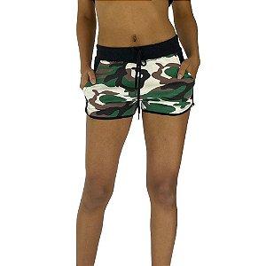 Shortinho Feminino Moletom MXD Conceito Camuflado Verde e Marrom