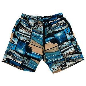 Shorts Praia Tactel Masculino MXD Conceito Praias Pintadas