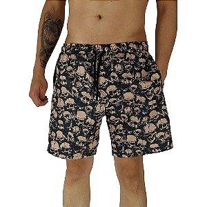 Shorts Praia Tactel Masculino MXD Conceito Caveiras Punk