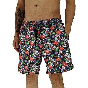 Shorts Praia Tactel Masculino MXD Conceito Tampinhas de Garrafas