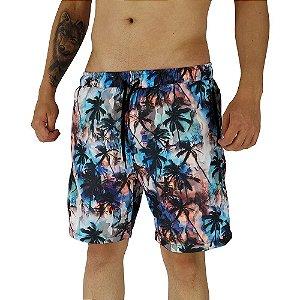Shorts Praia Tactel Masculino MXD Conceito Universal Palm Tree