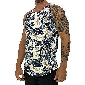 Regata Longline Masculina MXD Conceito FullPrint Floral Marfim