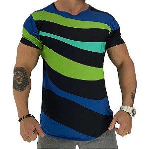 Camiseta Longline Fullprint Masculina MXD Conceito Ondulação Colorida