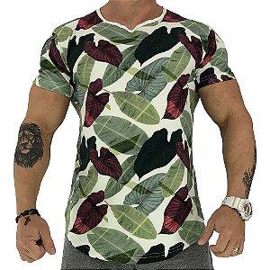 Camiseta Longline Fullprint Masculina MXD Conceito Flores da Vida