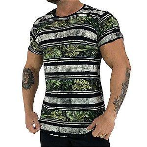 Camiseta Longline Fullprint Masculina MXD Conceito Flores Selvagens