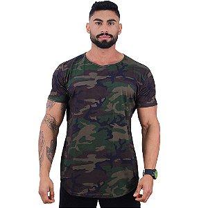 Camiseta Longline Fullprint Masculina MXD Conceito Camuflado Escuro
