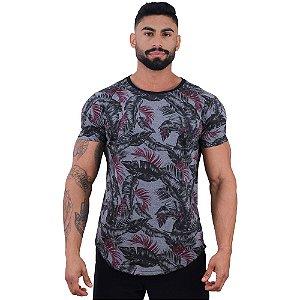 Camiseta Longline Fullprint Masculina MXD Conceito Flores Pretas