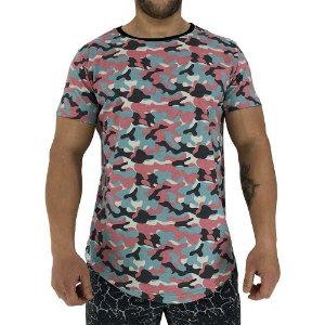 Camiseta Longline Fullprint Masculina MXD Conceito Camuflado Rosa