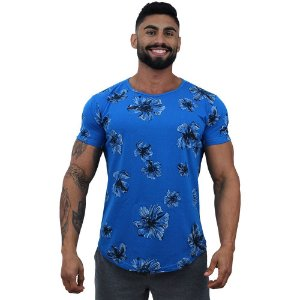 Camiseta Longline Fullprint Masculina MXD Conceito Flores no Azul