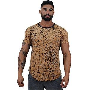 Camiseta Longline Fullprint Masculina MXD Conceito Marrom Ramificado