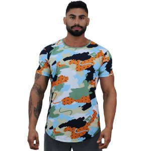 Camiseta Longline Fullprint Masculina MXD Conceito Tons de Felicidade