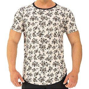 Camiseta Longline Fullprint Masculina MXD Conceito Flores e Caveiras